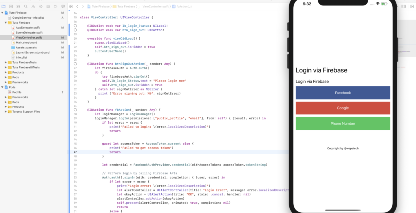 how to do facebook login in ios with firebase