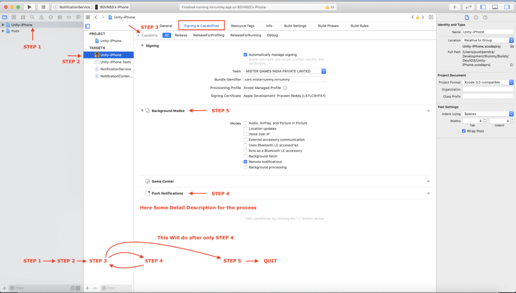 how to enable push notification in Xcode