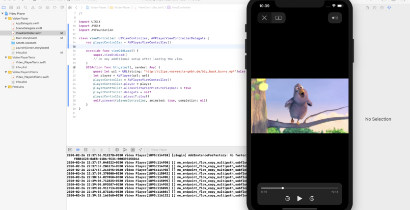 play video in ios swift
