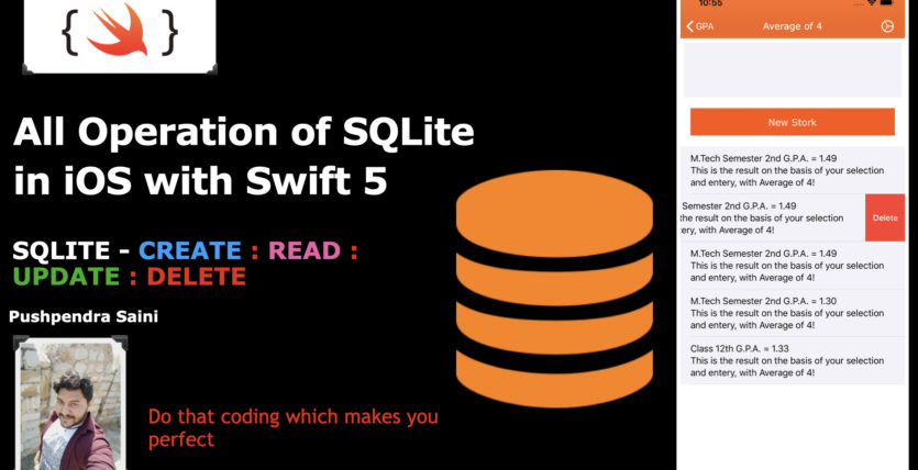 What are the operation of SQLite database in iOS with swift 5.