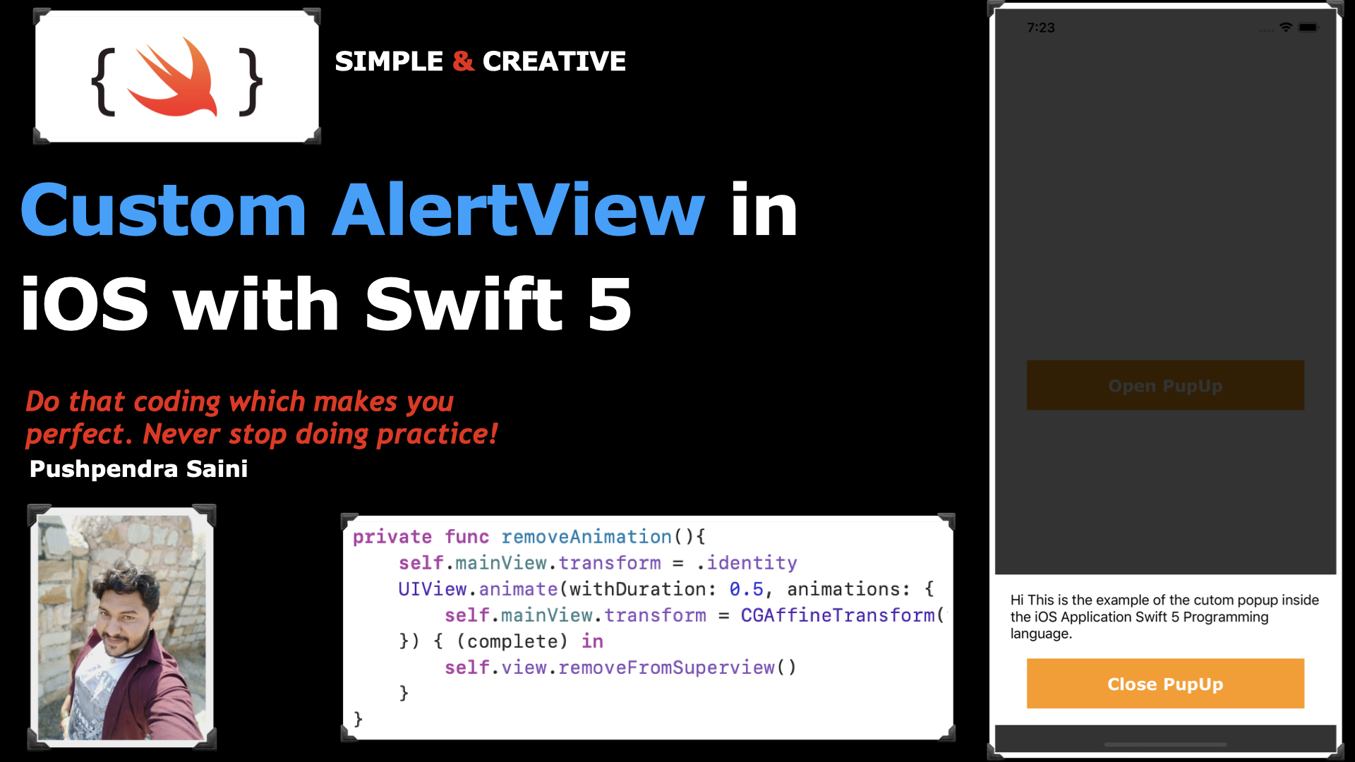 Custom AlertView in iOS with Swift 5